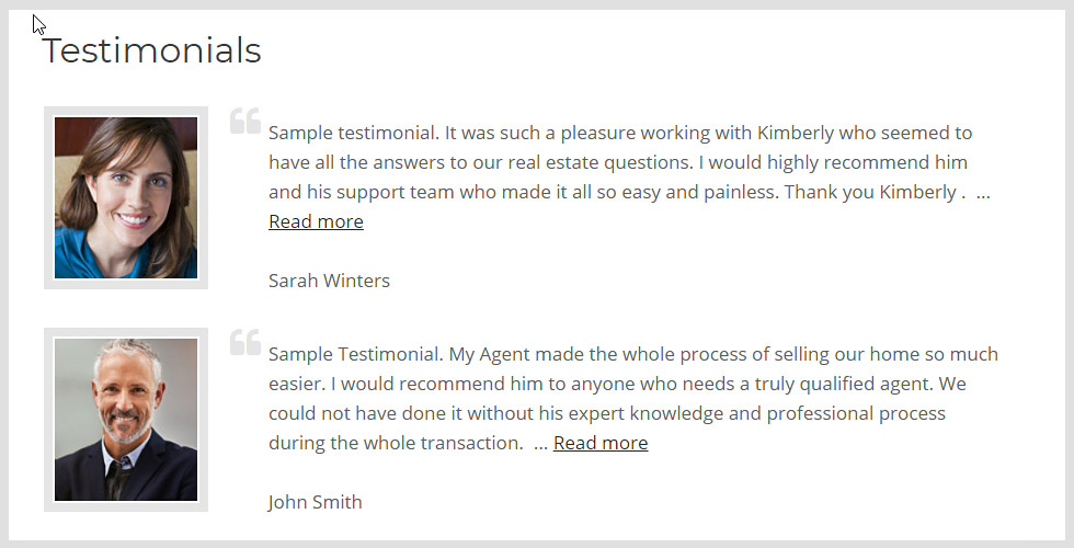 WordPress Testimonial add-on screenshot